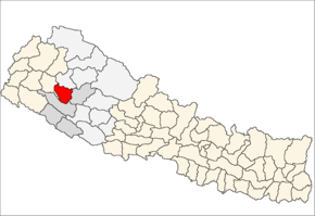 Dailekh District i Bheri Zone (grå) i Mid-Western Development Region (grå + lysegrå)