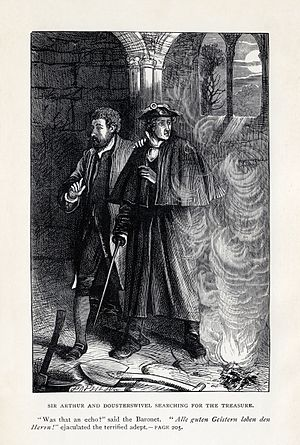 The Antiquary - Sir Arthur and Dousterswivel Searching for the Treasure, the Dalziel Brothers, 1886.