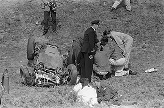 1960 Dutch Grand Prix - Dan Gurney's car after his accident, Killing a young spectator.