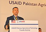 Daney Jackson, Chief of the Party, USAID's Pakistan Agricultural Technology Transfer Activity highlighting project interventions (42115380685).jpg