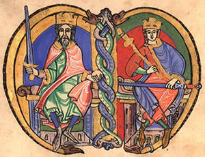 Somerled - Mid-12th-century depiction of David I, and his grandson, Malcolm IV. Earlier that century, Somerled's family appears to have bound itself in marriage to an opposing branch of the Scottish royal house.