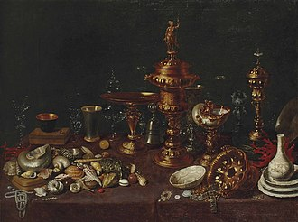 David Rijckaert II - Still life with shells with a nautilus, vases, glasses and Chinese porcelain