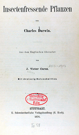 Insectivorous Plants (book) - Cover of 1876 German translation