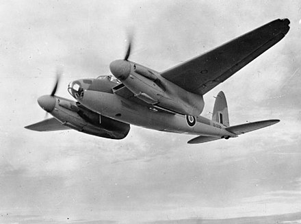 Mosquito marker planes dropped the target indicators, which glowed red and green to guide the bombers. De Havilland Mosquito-DK338-1942.jpg