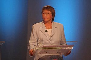 Michelle Bachelet - Bachelet during a television debate in 2005