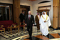 Defense.gov News Photo 110312-D-XH843-006 - Secretary of Defense Robert M. Gates walks with the King of Bahrain Hamad bin ISA al-Khalifa after their discussions at Safriyah Palace in Bahrain.jpg