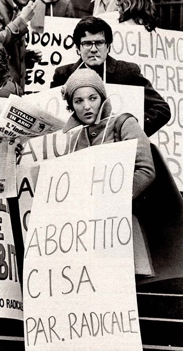 Demonstration for abortion rights in Milan, 1975