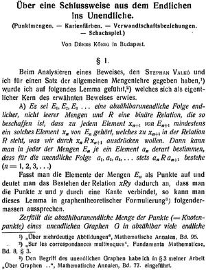 König's lemma - Kőnig's 1927 publication
