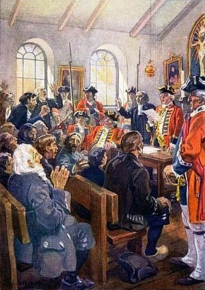 Royal Proclamation of 2003 - The deportation order is read to a group of Acadians in 1755