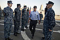 Deputy Secretary of Defense Ashton B. Carter goes through the sideboys as he is piped ashore after visiting the USS Freedom (LCS 1) in San Diego, Calif., on Sept 120926-D-TT977-323.jpg