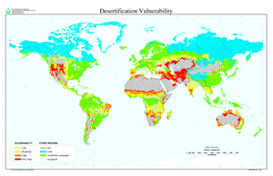 United Nations Convention to Combat Desertification - Global desertification vulnerability
