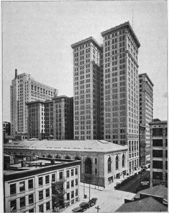 Detroit Financial District - Dime, Penobscot, and Ford Buildings, with the State Savings Bank in center foreground, c. 1922.
