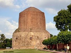 Dhamekh Stupa, Sarnath, originally built by Ashoka in 249 BC.jpg