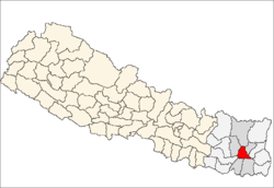map of Dhankuta, Nepal