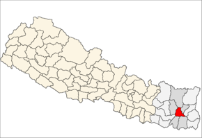 Dhankuta District i Kosi Zone (grå) i Eastern Development Region (grå + lysegrå)