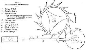Thomas Earnshaw - Diagram of Earnshaw's standard chronometer detent escapement.