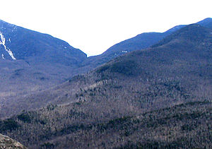 Dial Mountain - Dial Mtn (near right) from Noonmark, showing Mount Dix (left), Hunter Pass, (center)