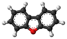 Ball-and-stick model of the dibenzofuran molecule
