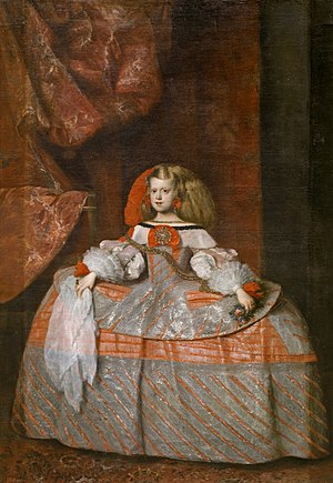 Petticoat - Infanta Margarita Teresa in pink dress (1660) by Diego Velázquez and Juan Bautista Martínez del Mazo, Museo del Prado, Madrid, depicting Margaret Theresa of Spain wearing an extremely wide pannier petticoat.