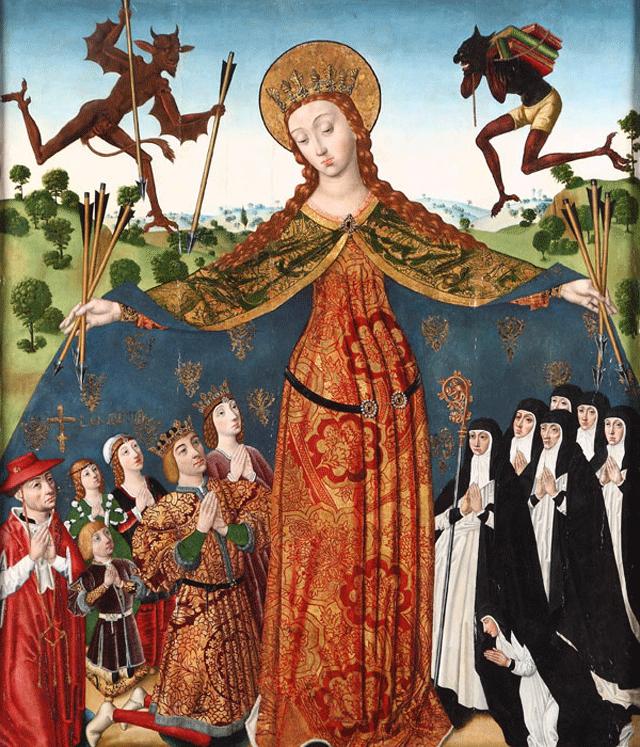 Diego de la Cruz, La Virgen de la Misericordia con los Reyes Católicos y su familia. Monasterio de las Huelgas, Burgos