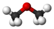 Ball and stick model of dimethyl ether