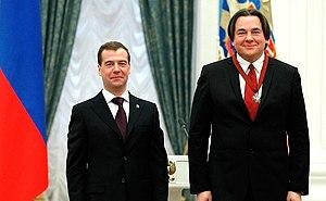 """Konstantin Ernst - Dmitry Medvedev awarded the Order """"For merits before Fatherland» III degree to Konstantin Ernst. February 21, 2011."""