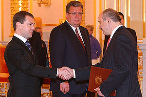Russia–South Ossetia relations - Dmitry Medoyev, the first South Ossetian Ambassador to Russia, presents his Letters of Credence to Russian President Dmitry Medvedev on 16 January 2009.