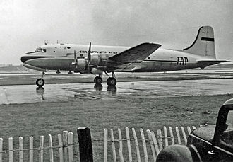 TAP Air Portugal - Douglas DC-4 of TAP arriving at London Heathrow Airport from Lisbon in 1954