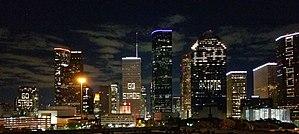 2017 Houston Astros season - Image: Downtown Houston Skyline During 2017 World Series