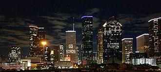 2017 Houston Astros season - Many buildings in the skyline of Downtown Houston participated in cheering for the Astros during the 2017 World Series.