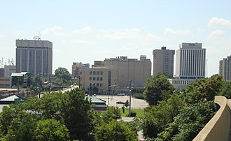 Newport News, Virginia - The downtown Newport News skyline as seen from 26th Street and I-664 overpass in August 2013