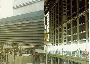 Drax power station - Turbine hall (left: outside, right: inside) The taller light-coloured building behind is the boiler house