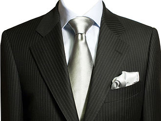 Lapel - A pinstriped suit with a notched lapel