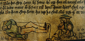 Beer in Iceland - An illustration of two intoxicated 15th century Icelanders