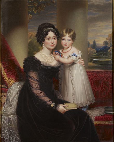 The Duchess of Kent with her daughter, the future Queen Victoria Duchess of Kent and Victoria by Henry Bone.jpg
