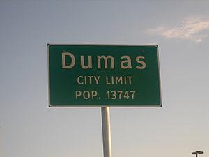 Dumas, Texas - Image: Dumas, TX, sign IMG 0571