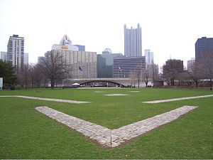 Point State Park - Brick pavers mark the outline of where Fort Duquesne was located.
