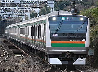 Tōkaidō Main Line - An E233 series EMU on the Tōkaidō Main Line, January 2012