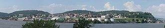 East Liverpool, Ohio - Spliced panoramic photo of East Liverpool, Ohio, from the east, taken August 11, 2000.