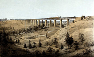 Southside Railroad (Virginia) - High Bridge near Farmville, Virginia in the 1850s