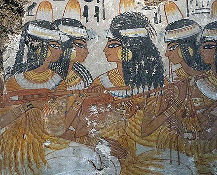 Egyptian lute players. Fresco from the tomb of Nebamun, a nobleman in the 18th Dynasty of Ancient Egypt (c. 1350 BC). Egyptian lute players 001.jpg