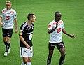Elbasan Rashani (left) shouts at Gilbert Koomson, Sogndal-Rosenborg 07-15-2017.jpg