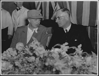 Eleanor Roosevelt, First Lady of the United States, with Curtin at a state luncheon in her honour at Old Parliament House, Canberra, in September 1943 Eleanor Roosevelt and John Curtin.jpg