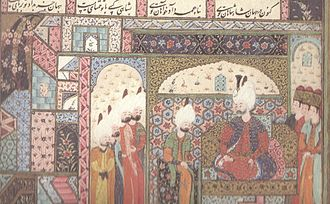 Mirza - Alqas Mirza meeting Suleiman the Magnificent. Illustration from the Süleymanname.