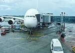 Emirates Airbus A381 at Sir Seewoosagur Ramgoolam International Airport in Mauritius.jpg