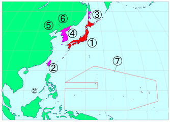 Territory of the Japanese Empire in the interwar period, 1 = motherland (naichi), 2–7 = outer areas (gaichi)
