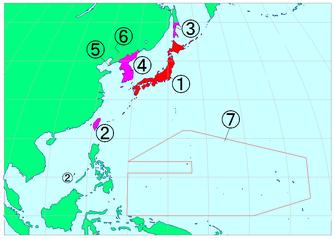 Staatsgebiet des Japanischen Kaiserreichs in der Zwischenkriegszeit, 1=Mutterland (naichi), 2–7=Außengebiete (gaichi)