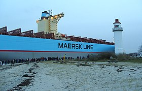 Enebærodde Lighthouse and Eugen Maersk.jpg