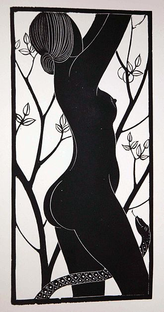 Society of Wood Engravers - Eve, a modern wood engraving by Eric Gill, a founder member of the Society, 1929