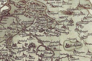 Battle of Dahlen - Excerpt of the manuscript atlas by Christian Sgrothen showing the area in where the battle was fought.